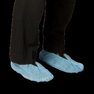 Polypropylene Shoe Covers Blue Non Slip Sole